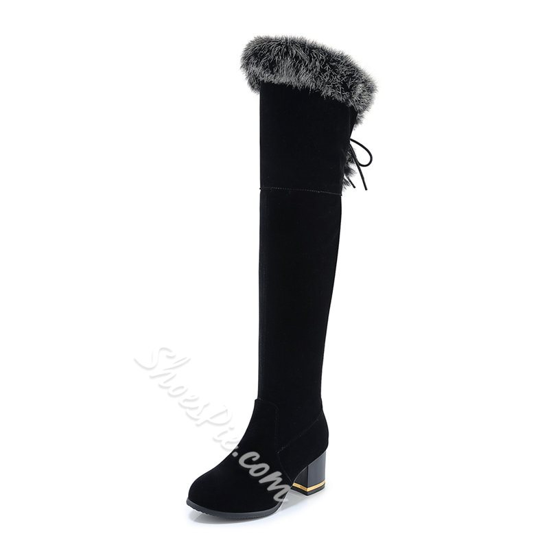 Shoespie Sexy Round Toe Patchwork Side Zipper Casual Boots