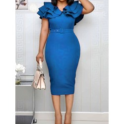 Mid-Calf Short Sleeve Split Bodycon Women's Dress