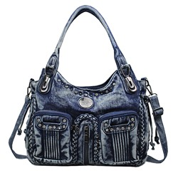 Shoespie Thread Denim Plain Motorcycle Shoulder Bags