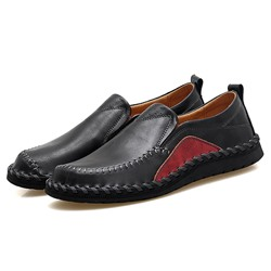 Shoespie Men's Slip-On Color Block Low-Cut Upper Round Toe Loafers