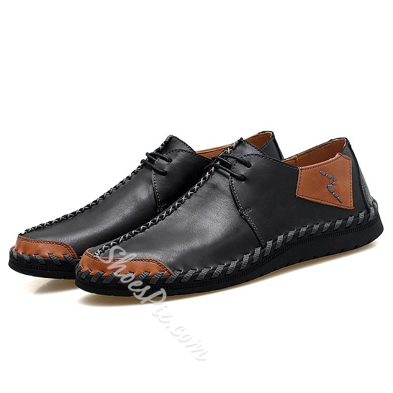 Shoespie Men's Lace-Up Low-Cut Upper Color Block Round Toe Thin Shoes