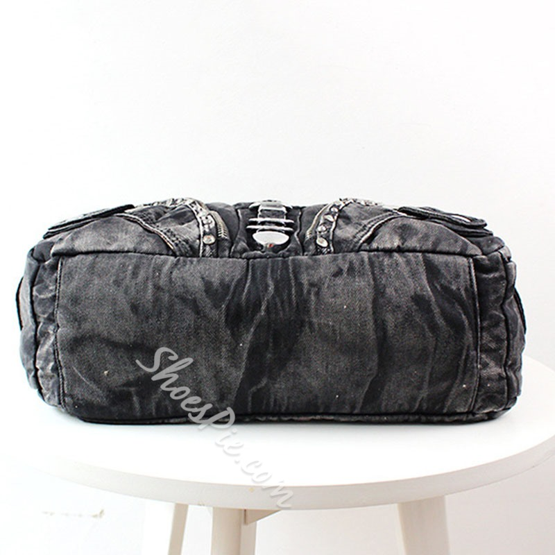 Shoespie Denim Thread Plain Motorcycle Shoulder Bags