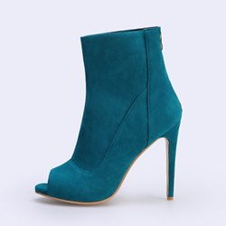 Shoespie Stylish Green Peep Toe Stiletto Heel Back Zip Ankle Boots
