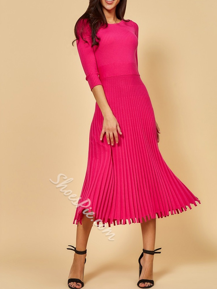 Pleated Nine Points Sleeve Mid-Calf Pullover Women's Dress