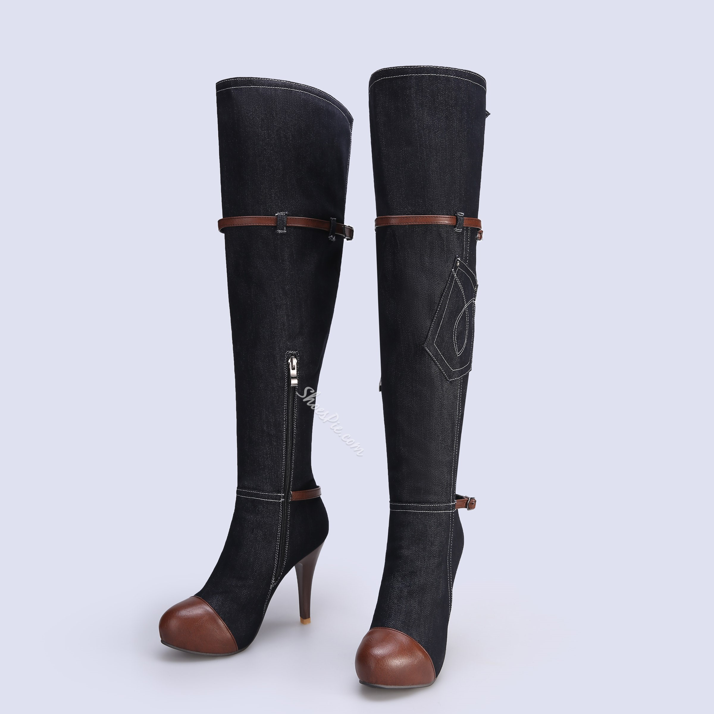 Shoespie Stylish Denim Stiletto Heel Thigh High Boots