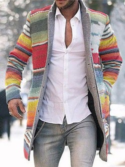Button Mid-Length Color Block Casual Single-Breasted Coat