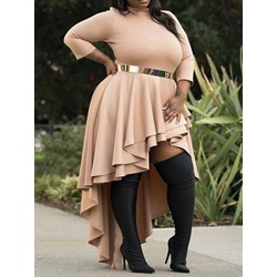 Plus Size Falbala Stand Collar Floor-Length Asymmetrical Women's Dress