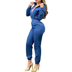 Plain Casual Zipper Slim Women's Jumpsuit