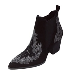 Shoespie Sexy Slip-On Color Block Pointed Toe PU Boots