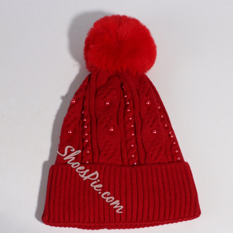 Pompon Knitted Hat Acrylic Plain Hats
