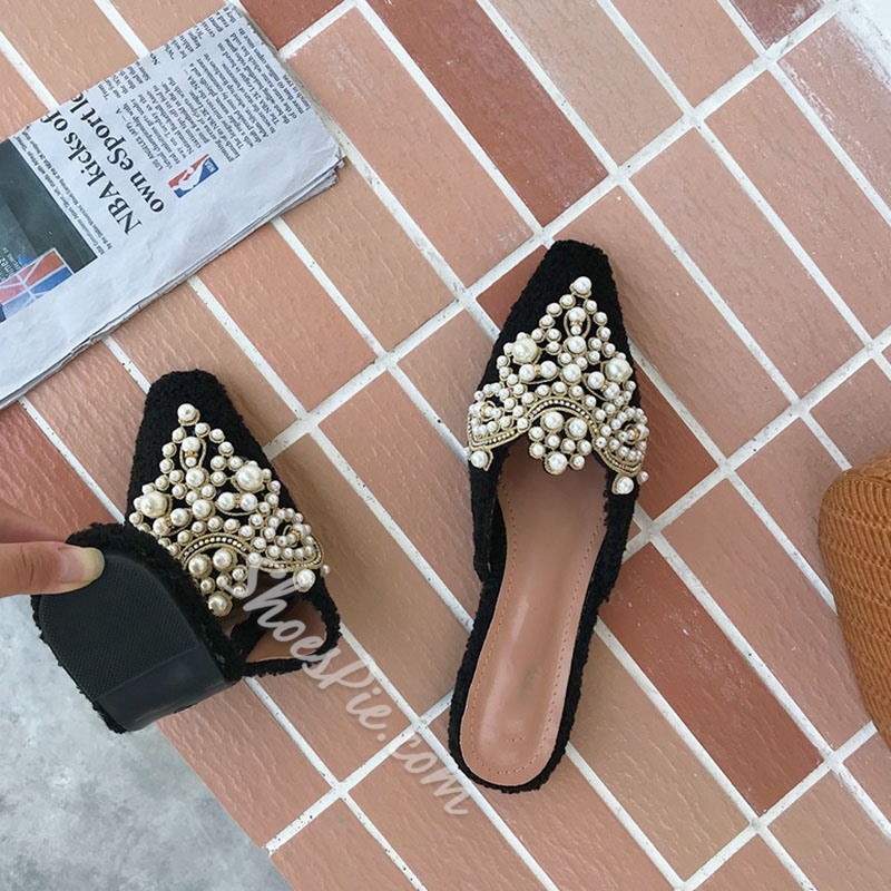 Shoespie Trendy Slip-On Beads Closed Toe Casual Slippers