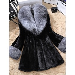 Mid-Length Regular Color Block Loose Women's Faux Fur Overcoat
