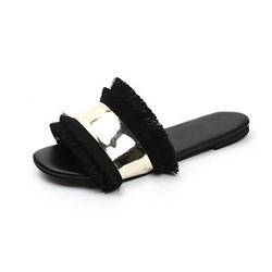 Shoespie Stylish Flip Flop Block Heel Fringe Rubber Slippers