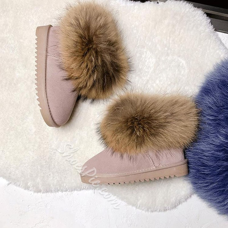 Shoespie Stylish Slip-On Round Toe Color Block Thread Boots