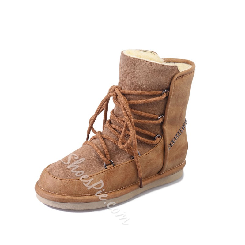 Shoespie Stylish Lace-Up Front Round Toe Snow Boots