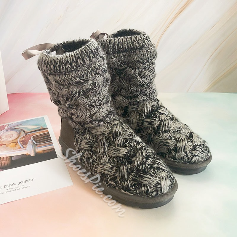 Shoespie Trendy Patchwork Round Toe Lace-Up Back Korean Boots