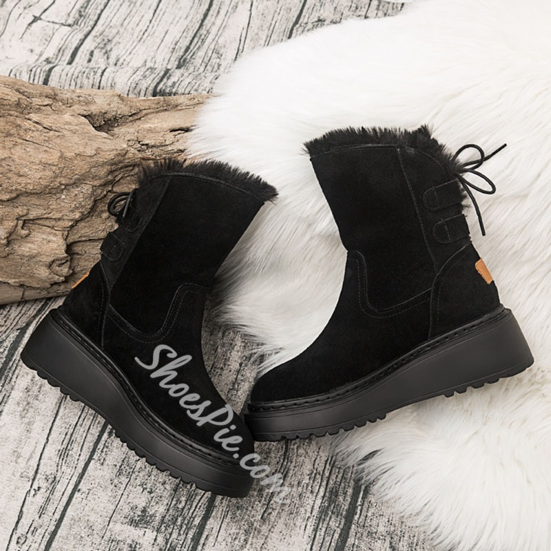 Shoespie Stylish Plain Wedge Heel Lace-Up Back Casual Boots