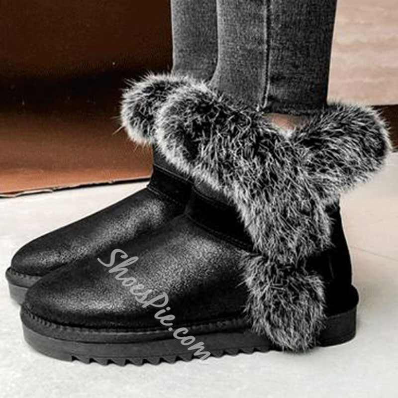 Shoespie Trendy Color Block Slip-On Round Toe Sweet Boots