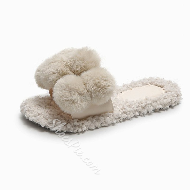 Shoespie Trendy Block Heel Slip-On Flip Flop Winter Slippers