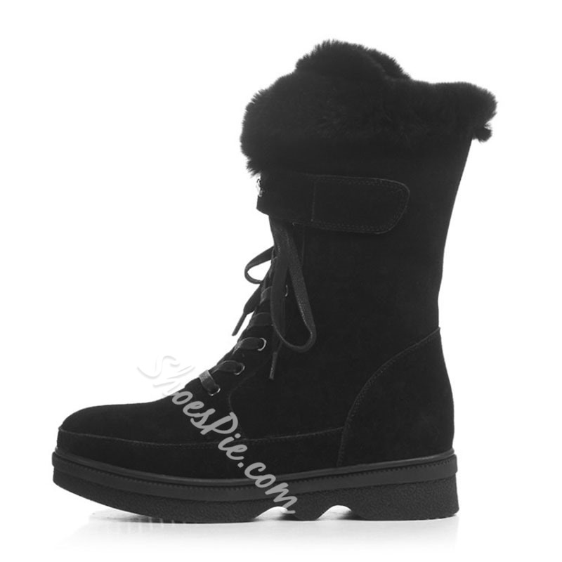 Shoespie Stylish Plain Round Toe Lace-Up Front PU Boots