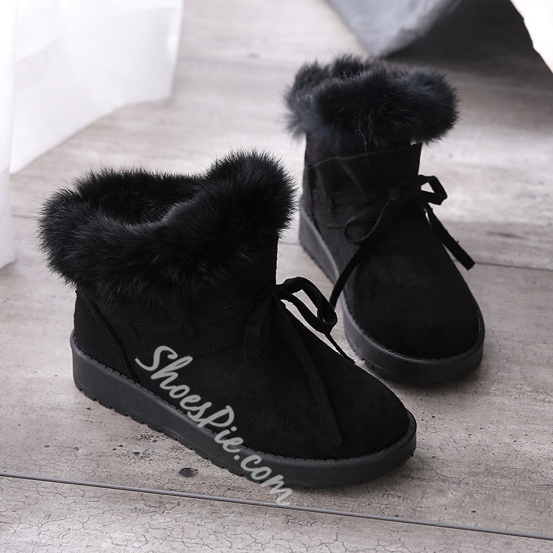 Shoespie Sexy Plain Round Toe Slip-On Snow Boots
