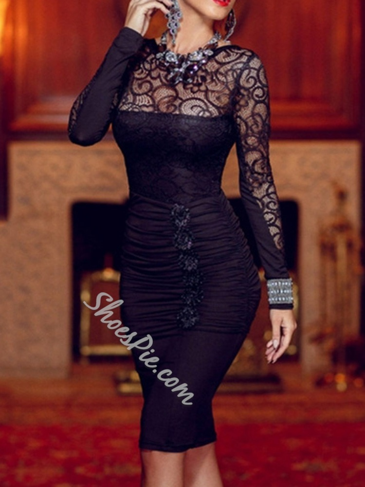 Lace Round Neck Long Sleeve Mid Waist Women's Dress