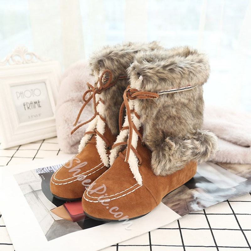 Shoespie Stylish Color Block Wedge Heel Round Toe Casual Boots