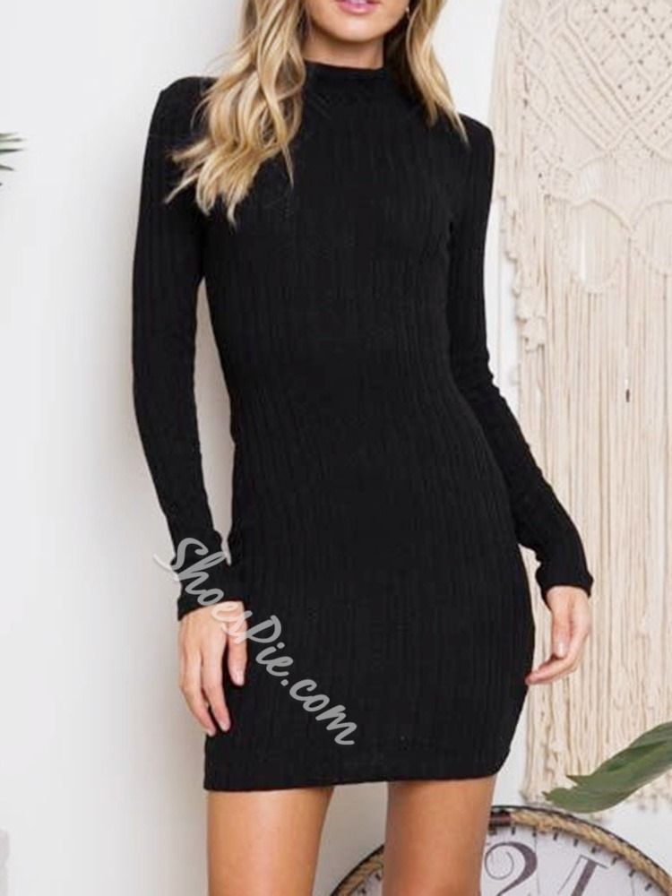 Long Sleeve Backless Above Knee Spring Women's Dress