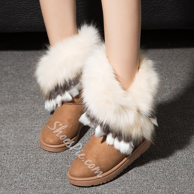 Shoespie Thread Round Toe Slip-On Color Block Casual Boots