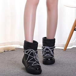 Shoespie Sexy Lace-Up Front Patchwork Round Toe Thread Boots