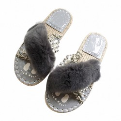 Shoespie Trendy Slip-On Rhinestone Block Heel Rubber Slippers