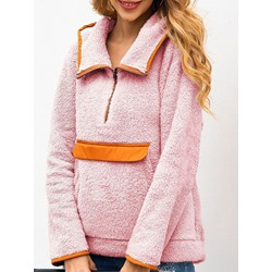 Color Block Zipper Thick Women's Hoodie