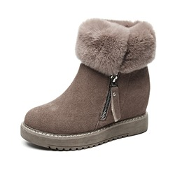 Shoespie Stylish Side Zipper Round Toe Casual Boots