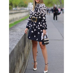 Above Knee Long Sleeve Print Pullover Women's Dress
