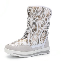 Shoespie Stylish Color Block Round Toe Hasp Thread Boots