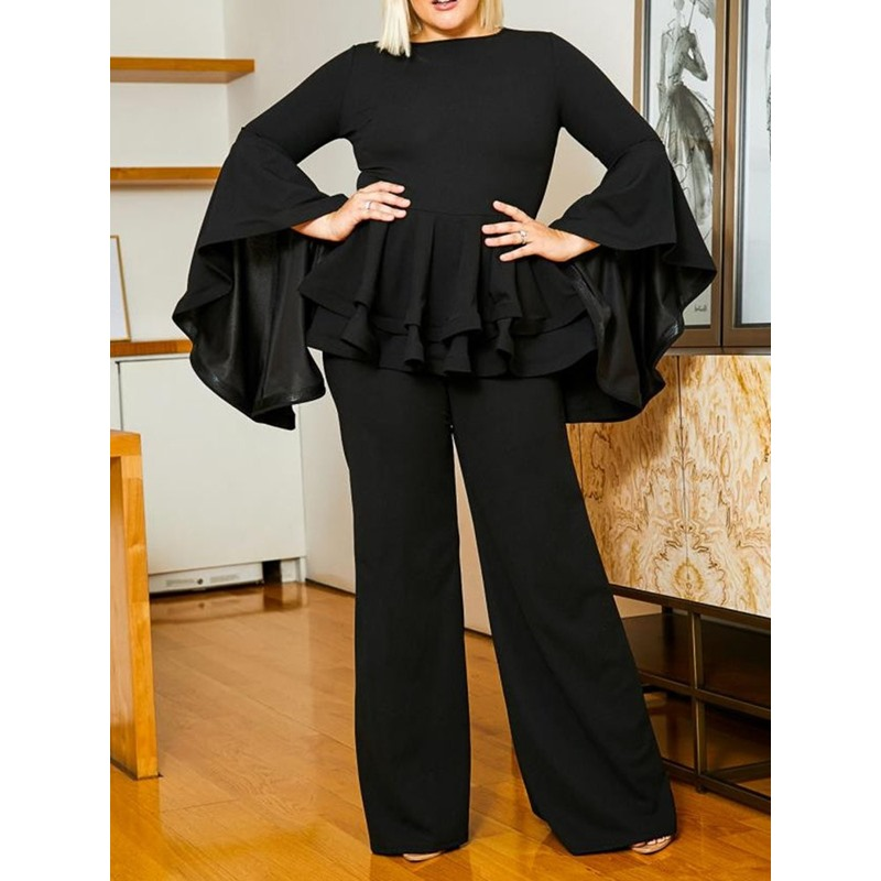 Plus Size Round Neck Falbala Flare Sleeve Casual Pants Womens Two Piece Sets