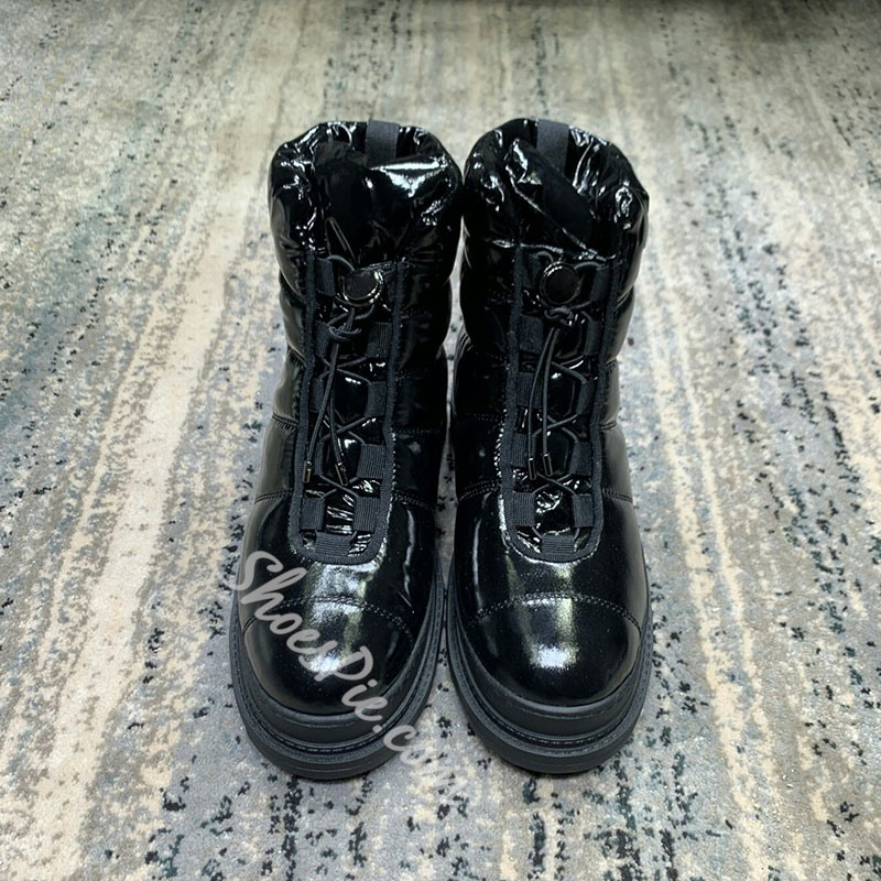 Shoespie Round Toe Lace-Up Front Snow Boots