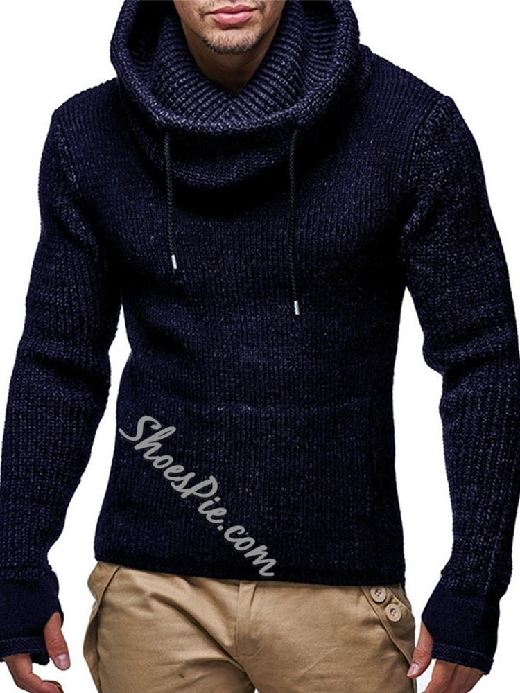 Standard Hooded Pocket Fall Slim Sweater