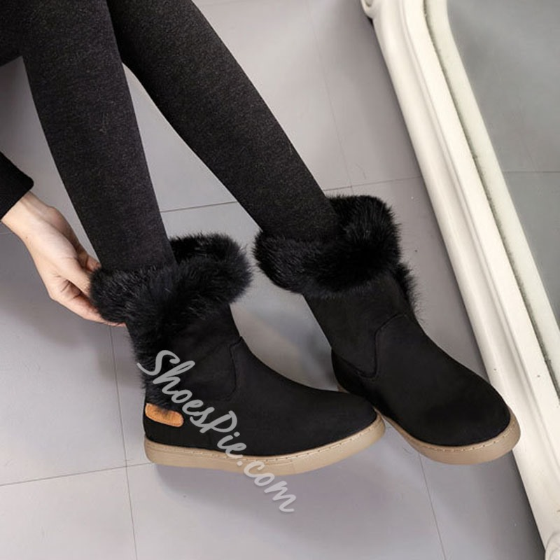 Shoespie Sexy Round Toe Plain Slip-On Thread Boots