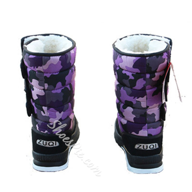 Shoespie Trendy Velcro Round Toe Camouflage Casual Boots