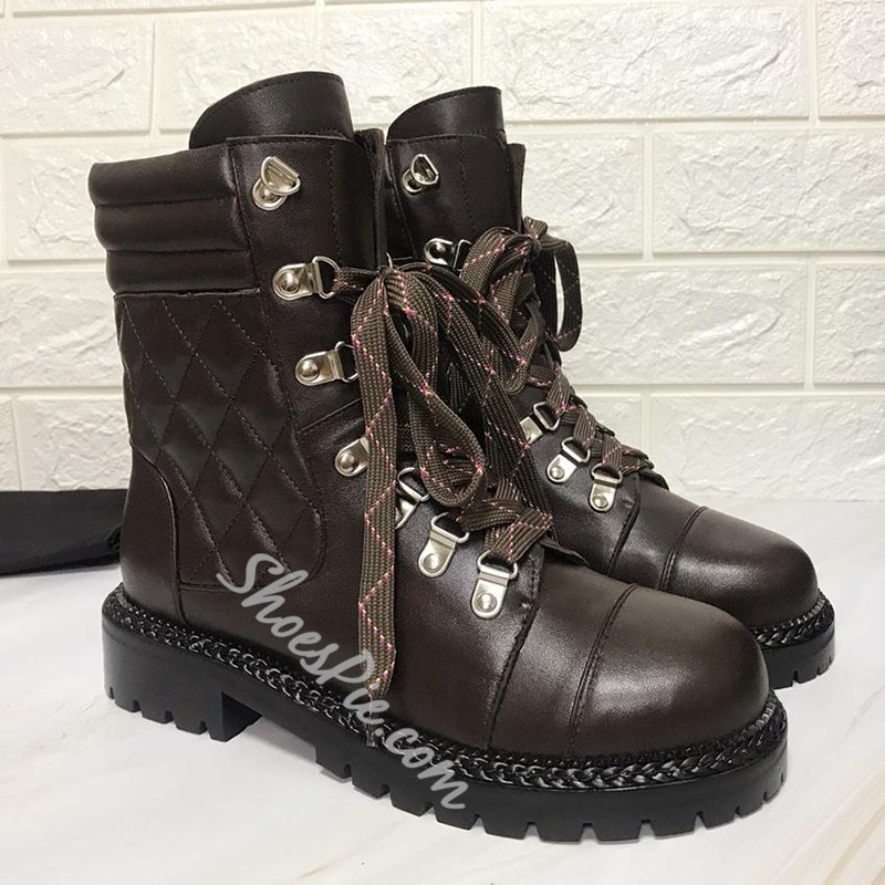 Shoespie Stylish Lace-Up Front Round Toe Cross Strap Boots