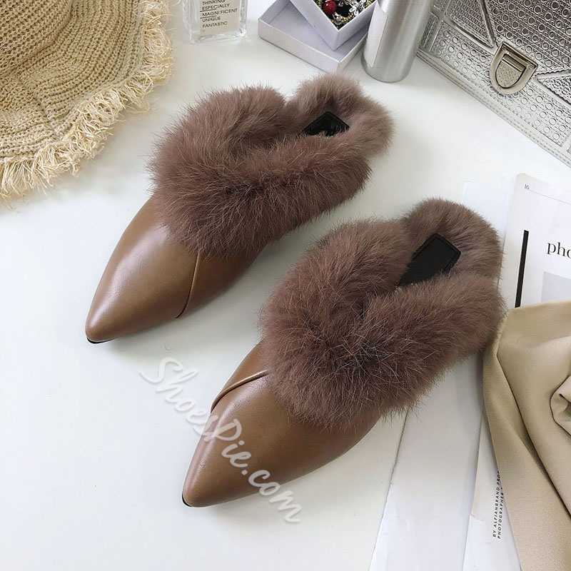 Shoespie Stylish Thread Closed Toe Block Heel Casual Slippers