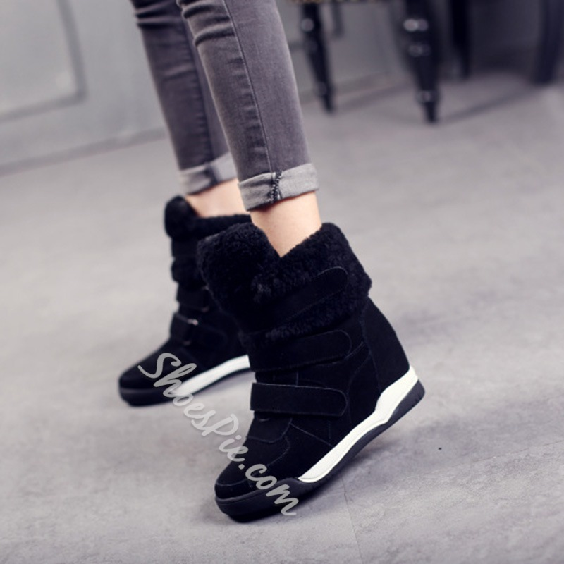 Shoespie Trendy Round Toe Color Block Velcro Korean Boots