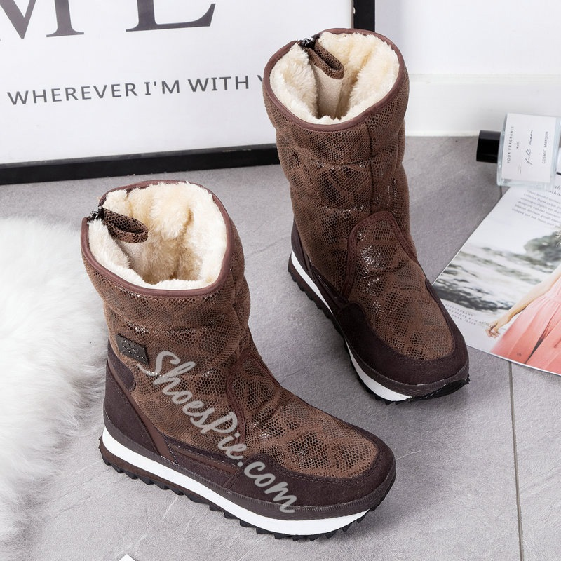 Shoespie Stylish Round Toe Back Zip Patchwork Casual Boots