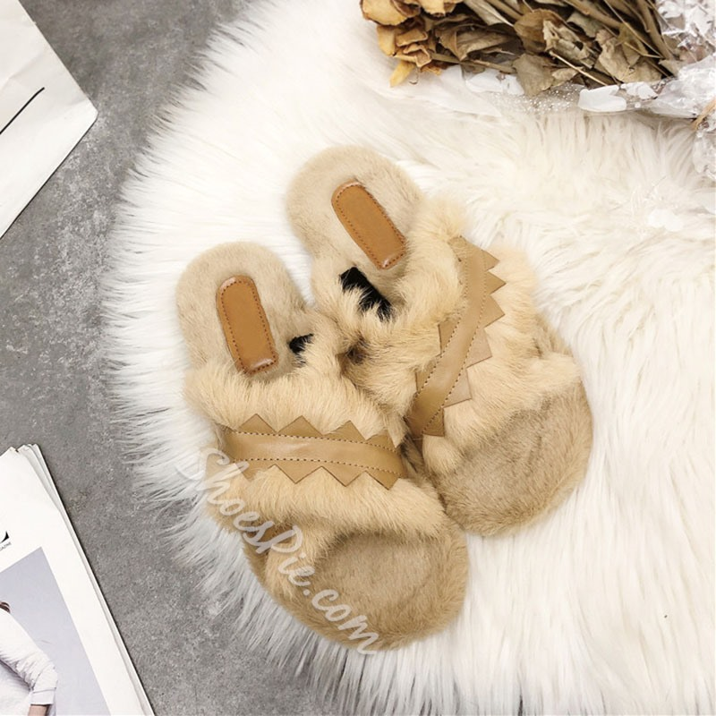 Shoespie Stylish Thread Block Heel Slip-On Casual Slippers