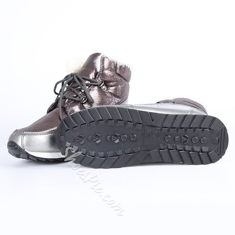 Shoespie Stylish Lace-Up Front Color Block Round Toe Snow Boots