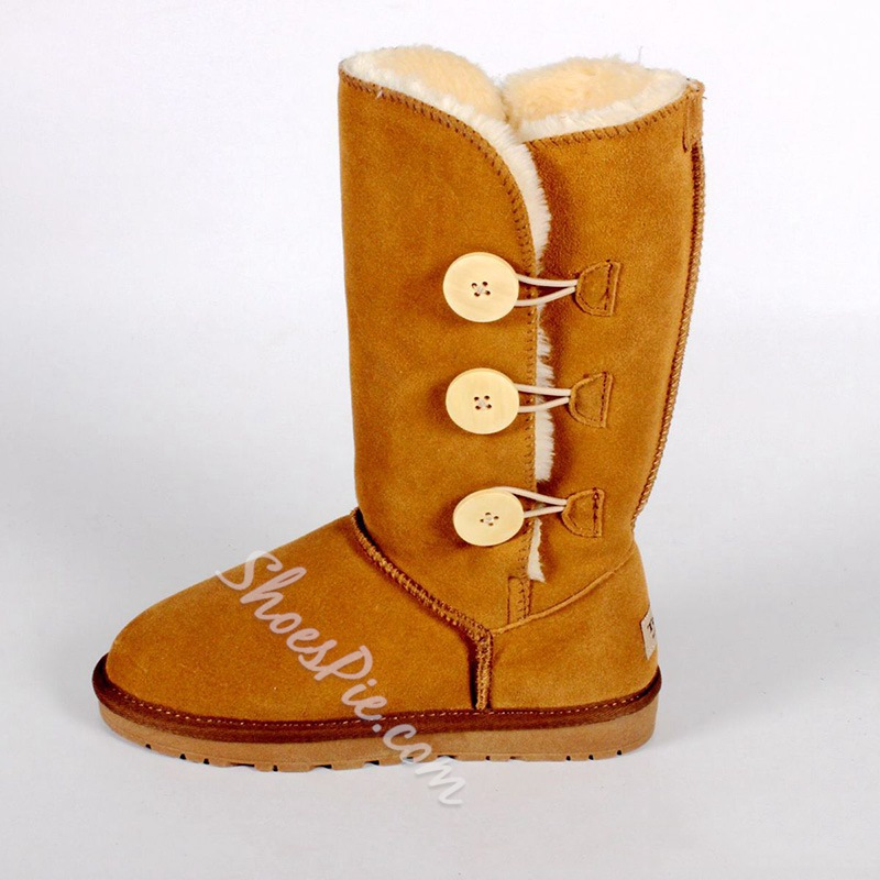 Shoespie Stylish Color Block Round Toe Hasp Casual Boots