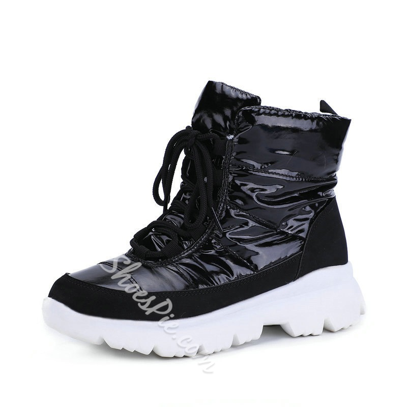 Shoespie Stylish Plain Round Toe Lace-Up Front Casual Boots