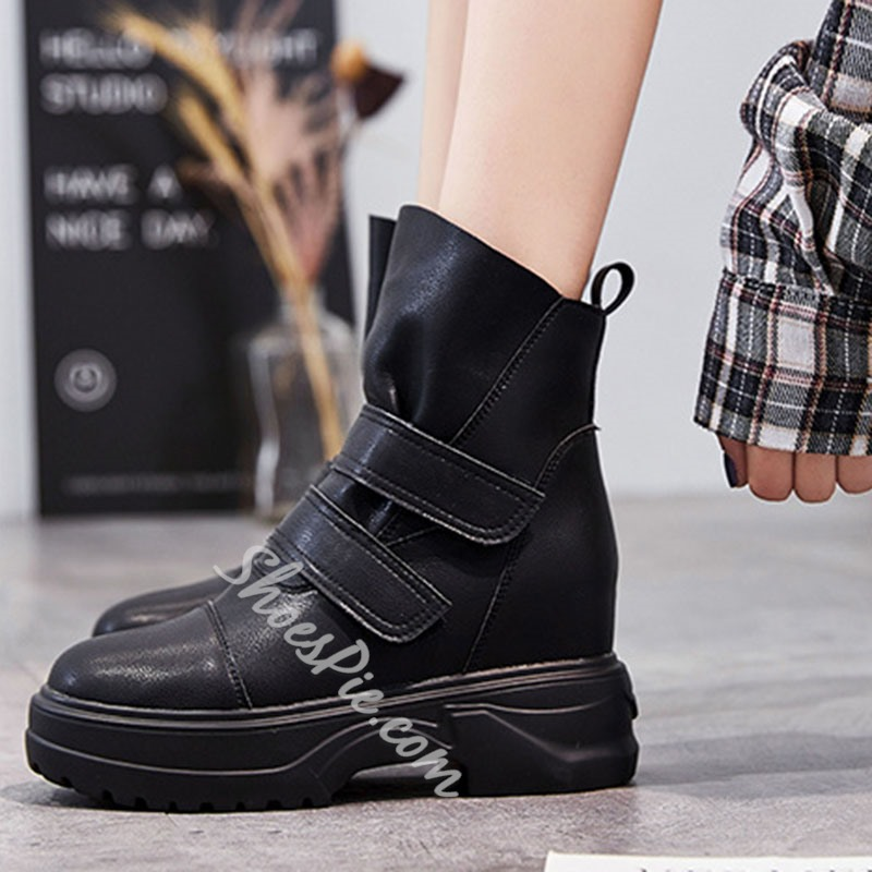 Shoespie Stylish Velcro Plain Round Toe Thread Boots