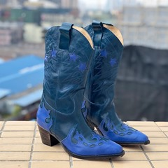 Shoespie Trendy Star Chunky Heel Round Toe Western Boots